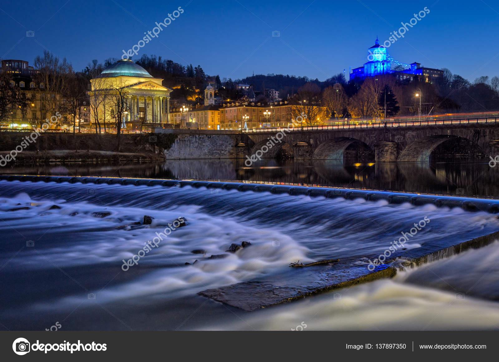 Torino (Turin) chiesa della Gran Madre fiume po e Monte dei ...