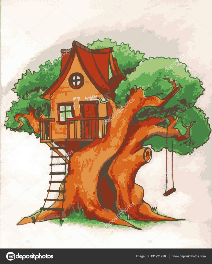casa del rbol casa de rbol para nios parque infantil con ilustracin de terraza columpio y escalera u ilustracin de stock