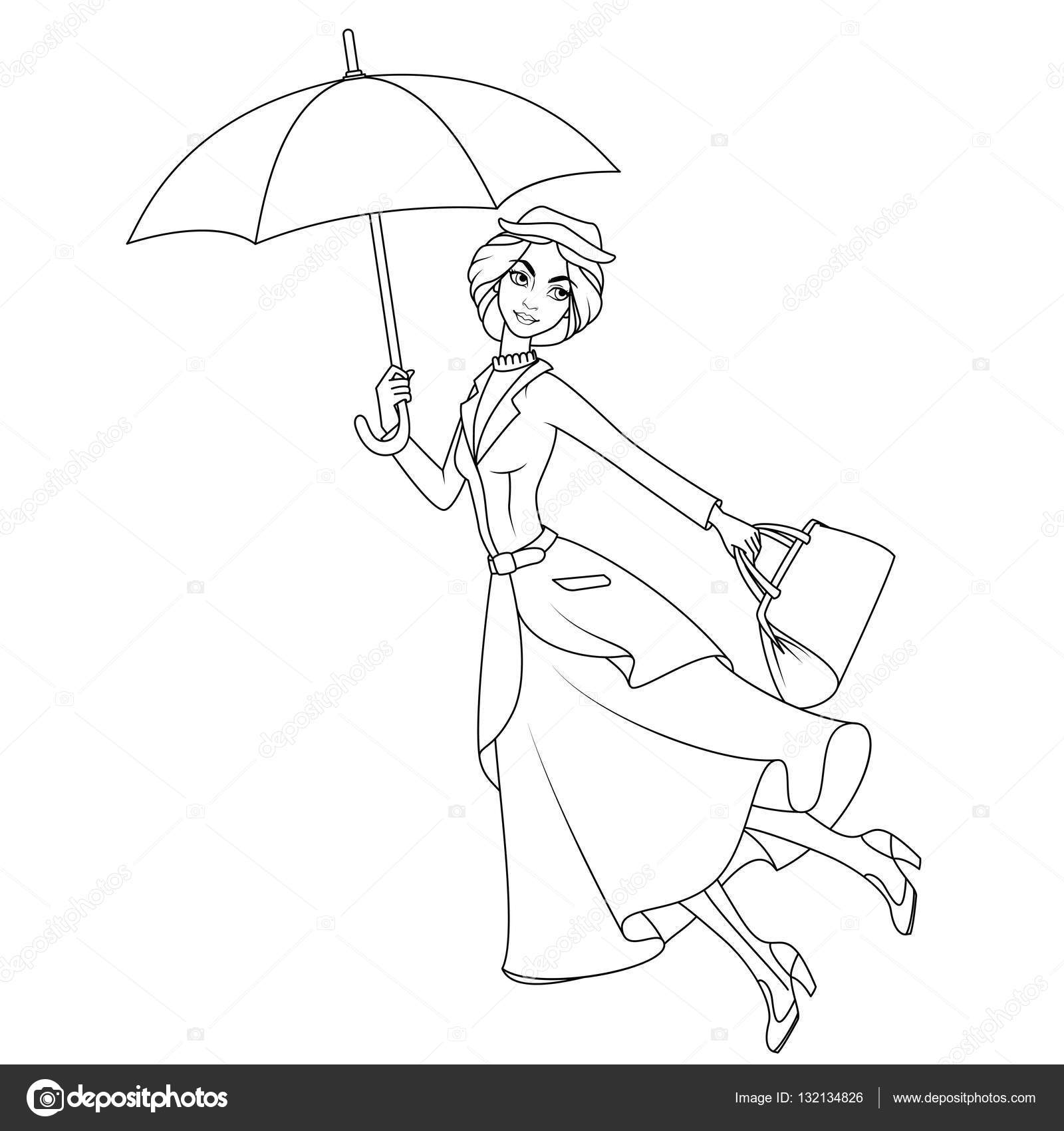 Coloring book: Mary Poppins a novel character flying on umbrella ...