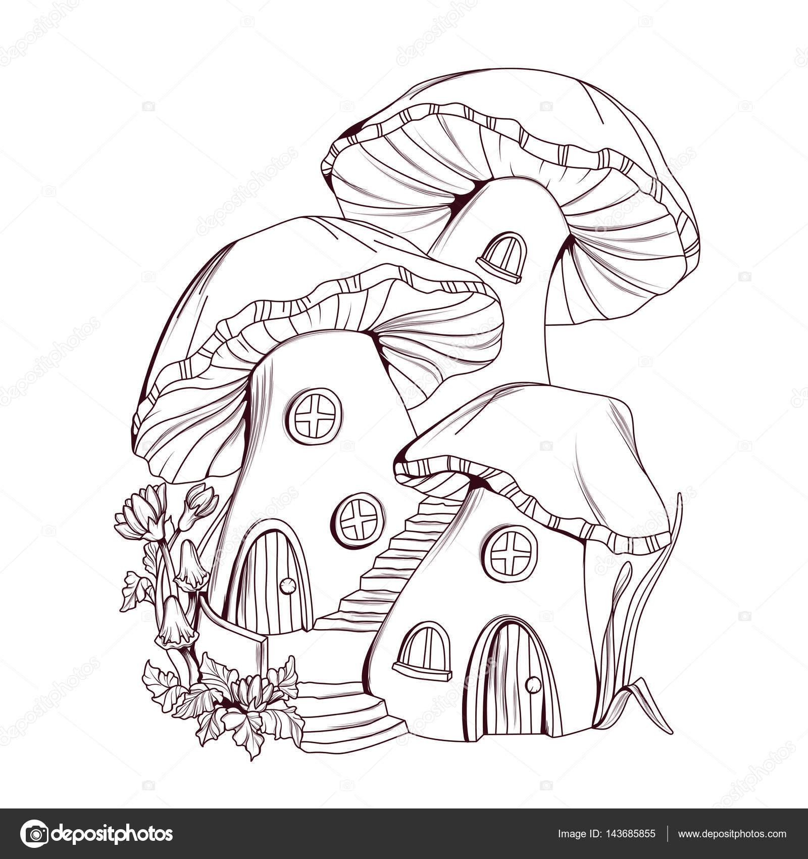 Libro de colorear: seta casas ilustración de cuento de hadas ...
