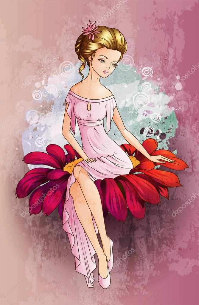 Fairytale character Thumbelina siting on the flower ...