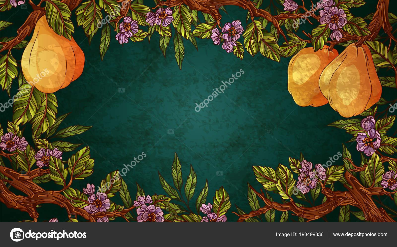 Marco adornado con flores y frutas de membrillo — Archivo Imágenes ...