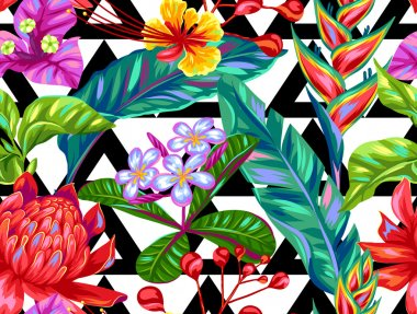 Seamless pattern with Thailand flowers. Tropical multicolor plants, leaves and buds