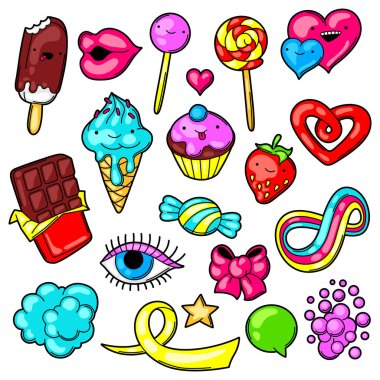 Set of kawaii sweets and candies. Crazy sweet-stuff in cartoon style. stock vector