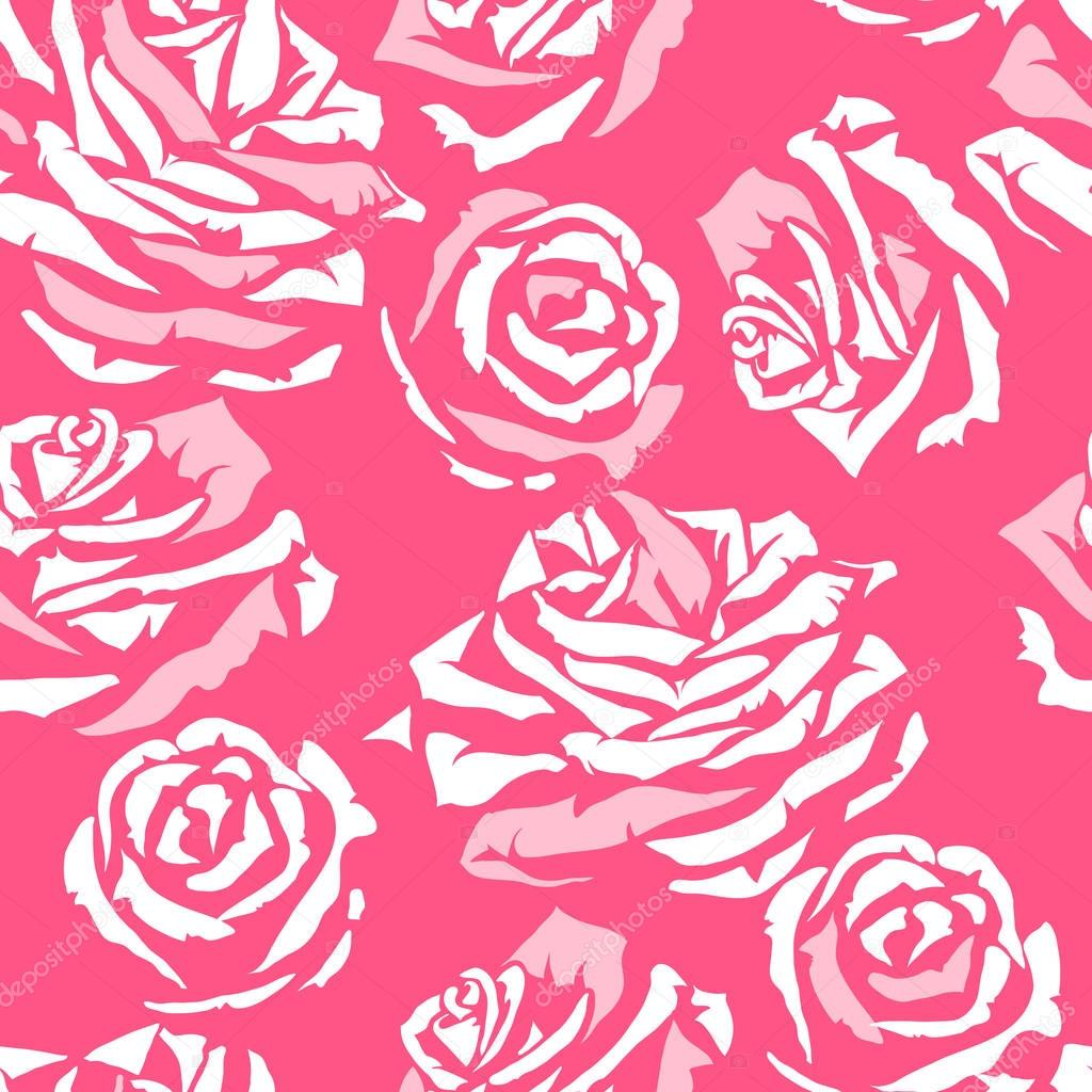 Seamless pattern with pink roses. Fashion natural background