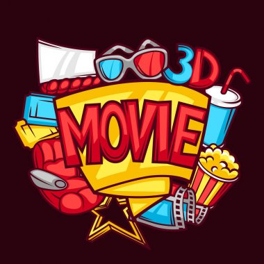 Cinema and 3d movie advertising background in cartoon style
