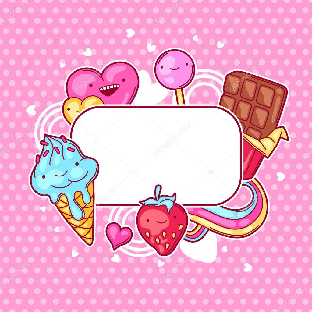 Kawaii marco de corazón con dulces y caramelos. Dulce locura-cosas ...