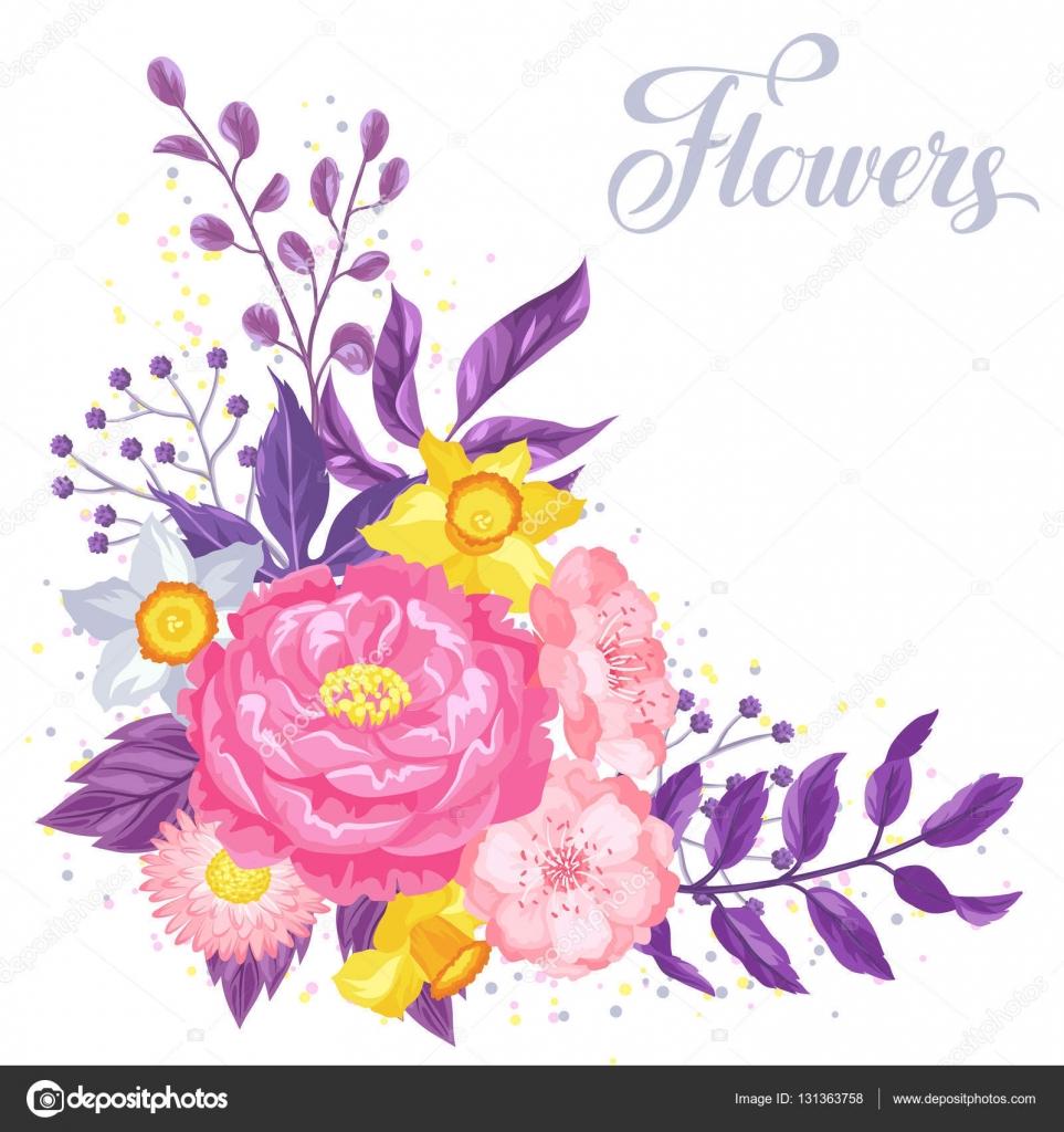 Tarjeta de invitaci n con delicadas flores decorativas - Fotos decorativas ...