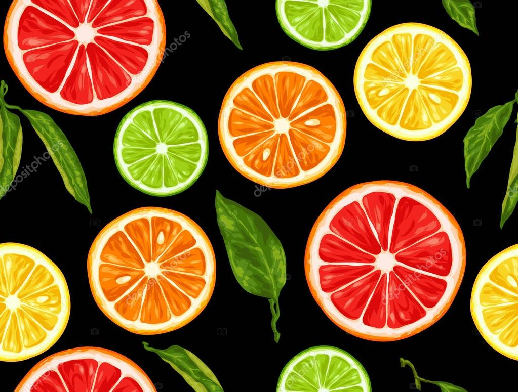 Seamless pattern with citrus fruits slices. Mix of lemon lime grapefruit and orange
