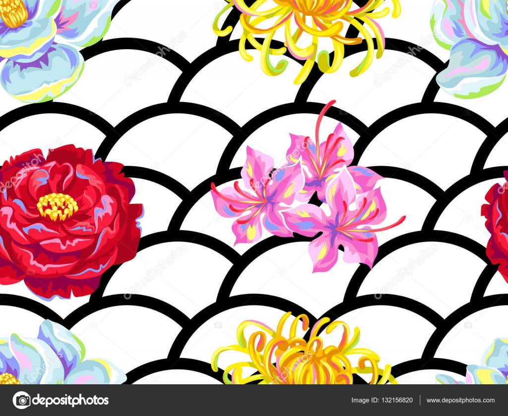 Seamless Pattern With China Flowers Bright Buds Of Magnolia Peony