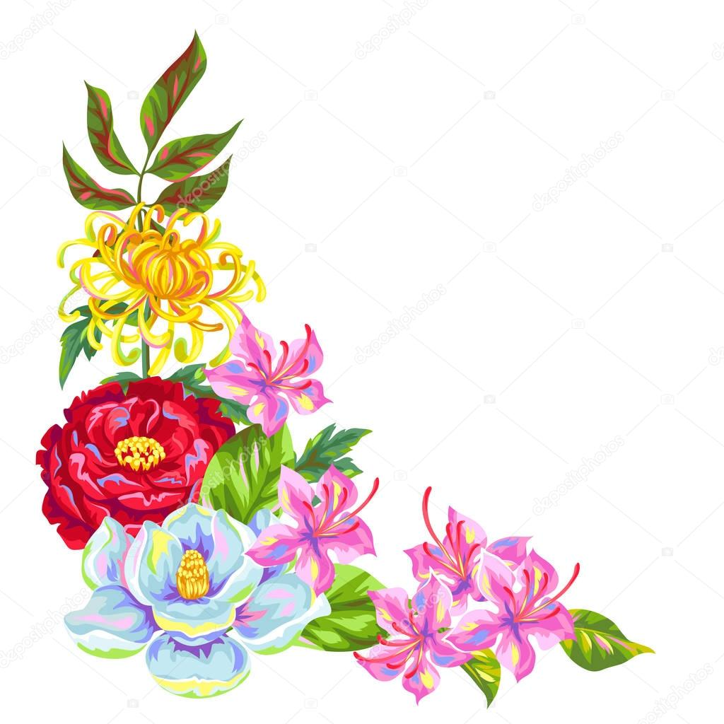 Decorative element with China flowers. Bright buds of magnolia, peony, rhododendron and chrysanthemum