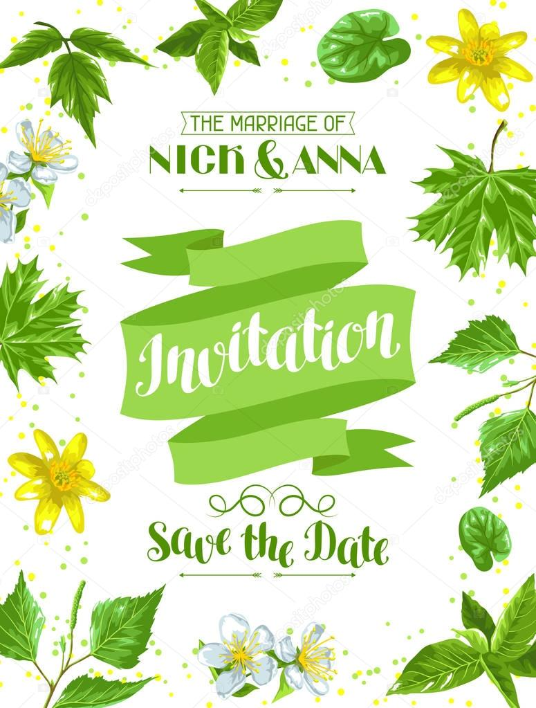 Spring green leaves and flowers. Wedding invitation with plants, twig, buds