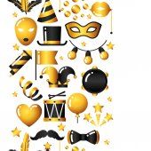Carnival seamless pattern with gold icons and objects. Celebration party background