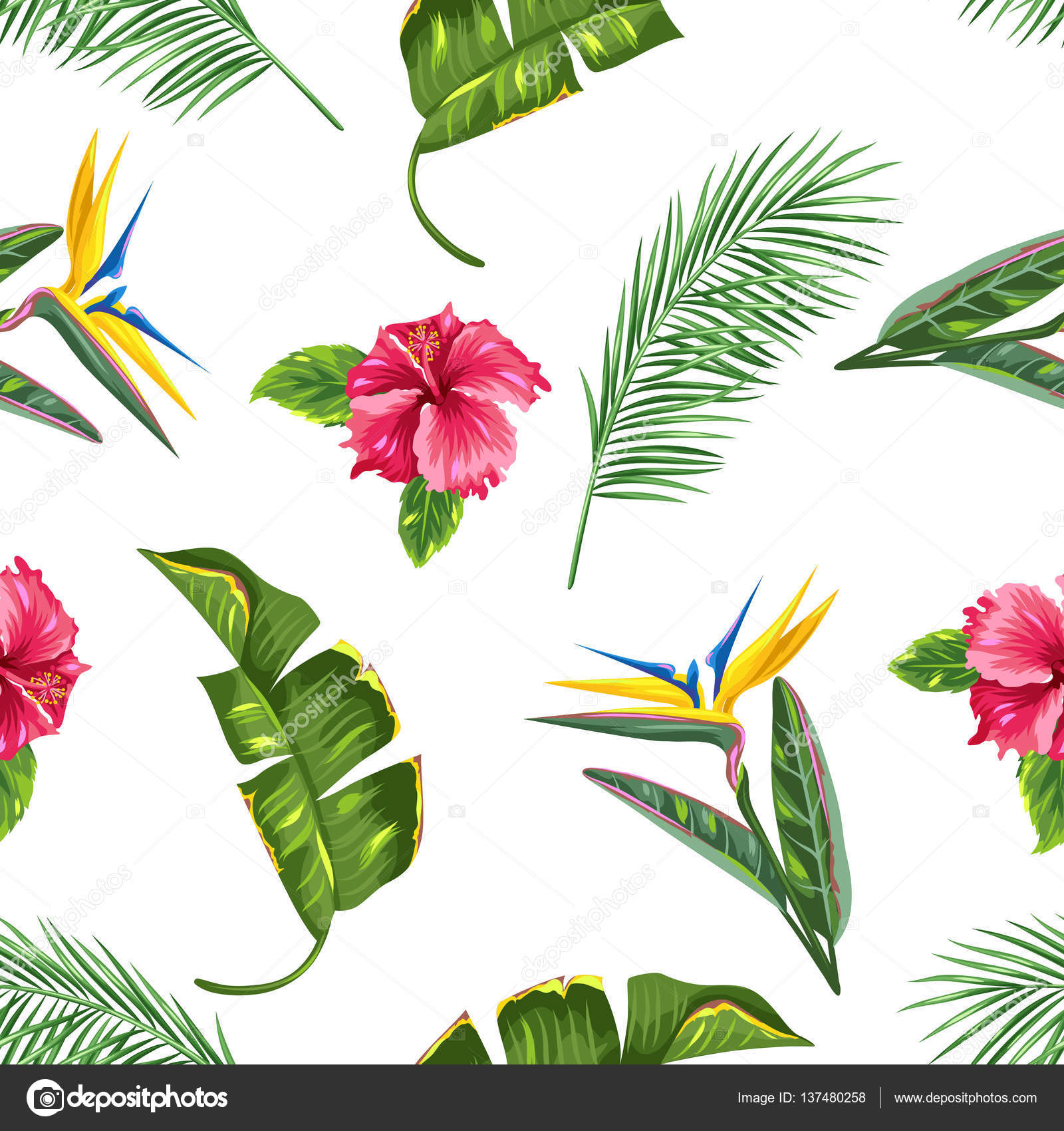 Modello senza cuciture con fiori e foglie tropicali rami - Modello di base del fiore ...