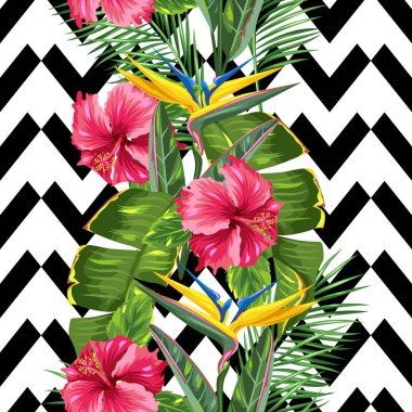 Seamless pattern with tropical leaves and flowers. Palms branches, bird of paradise flower, hibiscus