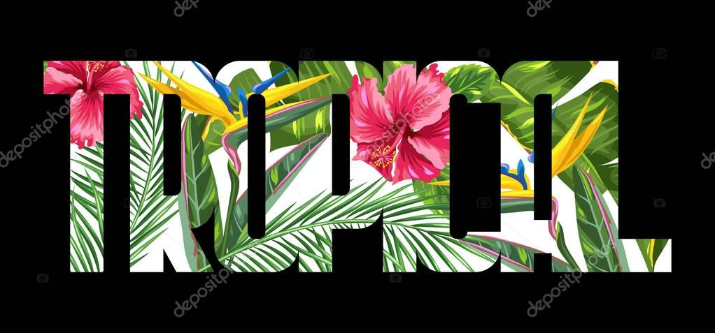 Print with tropical leaves and flowers. Palms branches, bird of paradise flower, hibiscus