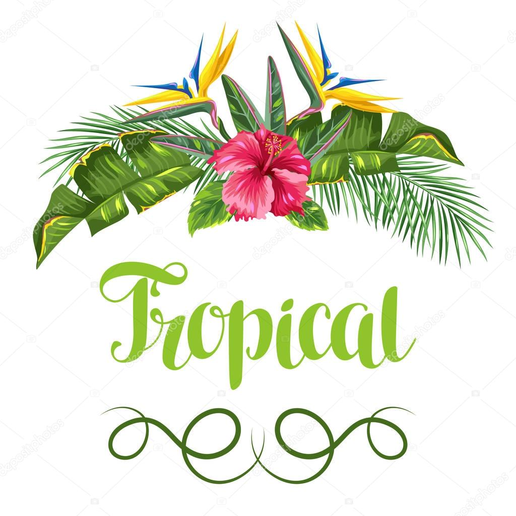 Invitation card with tropical leaves and flowers. Palms branches, bird of paradise flower, hibiscus