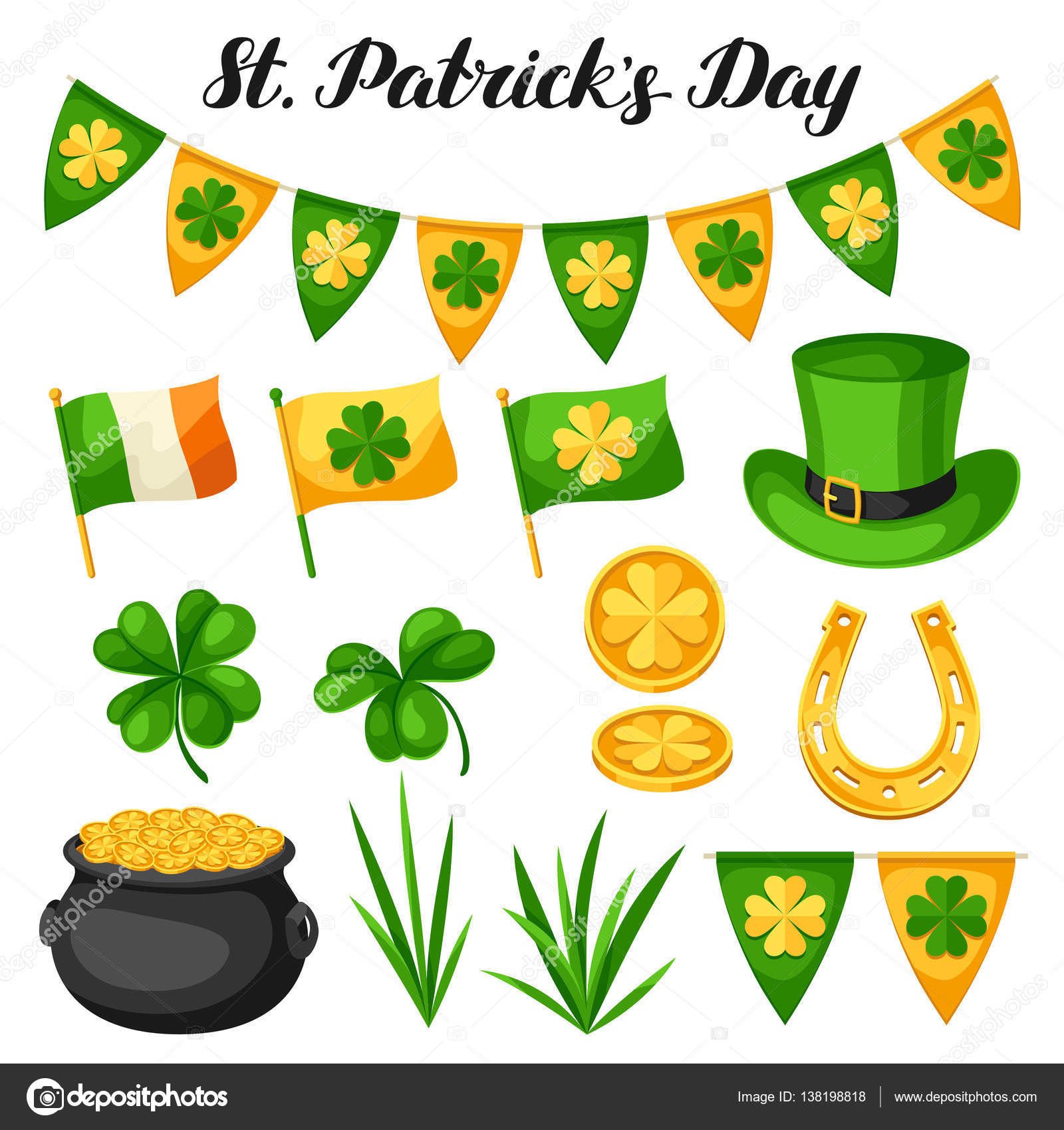 saint patricks day objects flag ireland pot of gold coins