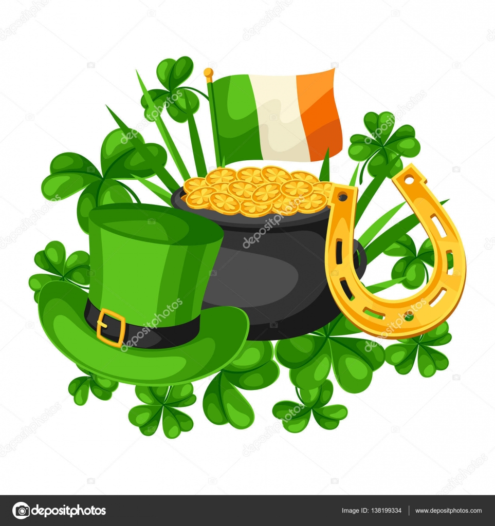 saint patricks day card flag ireland pot of gold coins