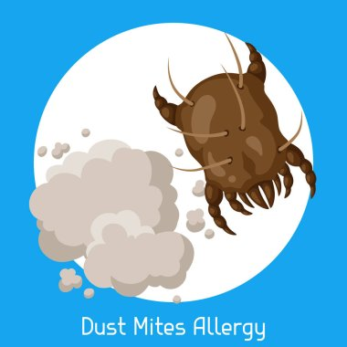 Dust mites allergy. Vector illustration for medical websites advertising medications