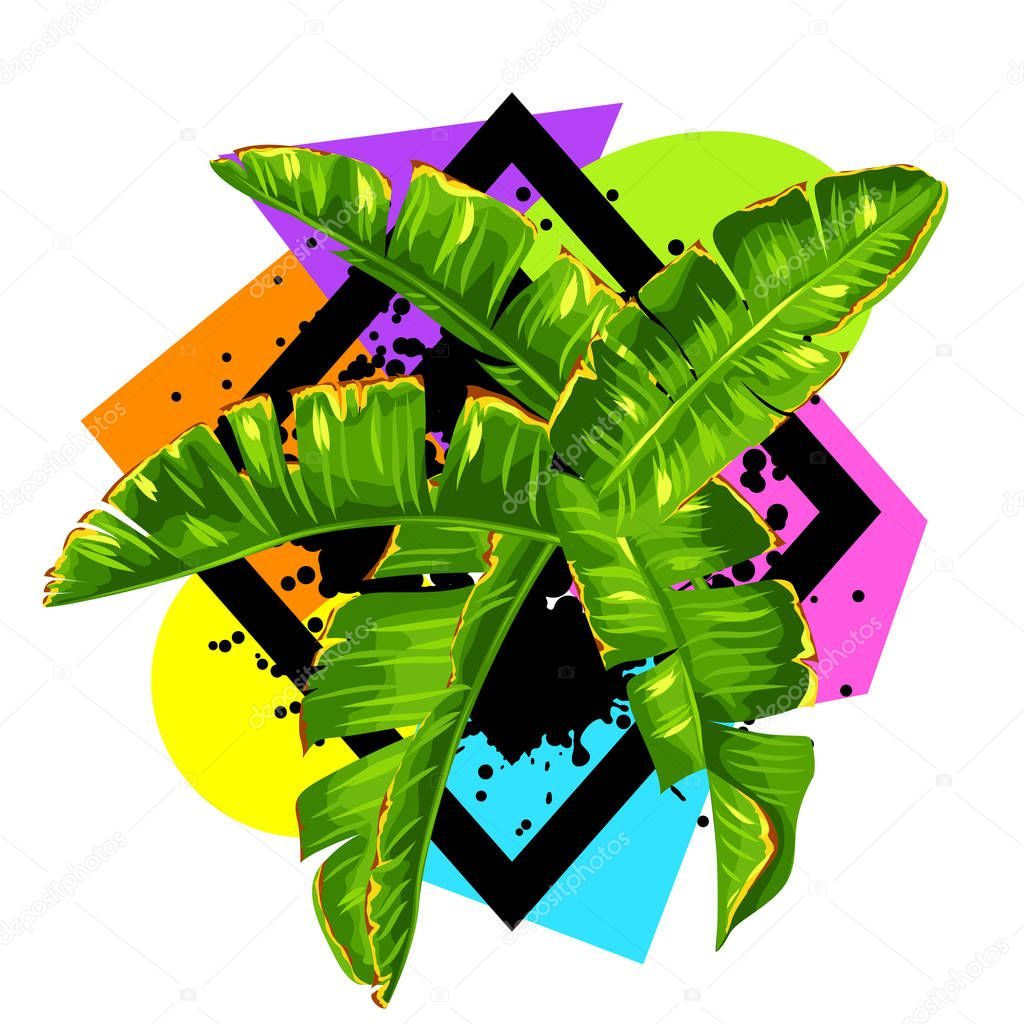 Print with banana palm leaves. Decorative tropical foliage