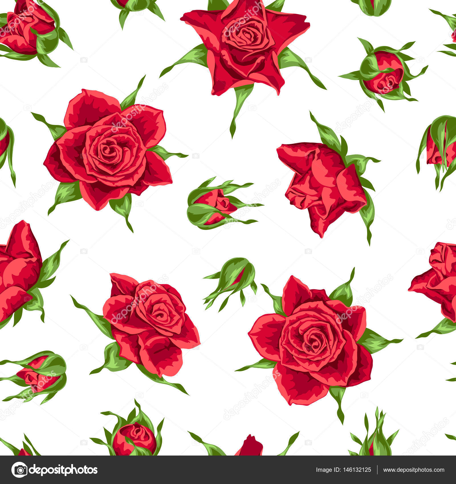 seamless pattern with red roses beautiful realistic flowers buds