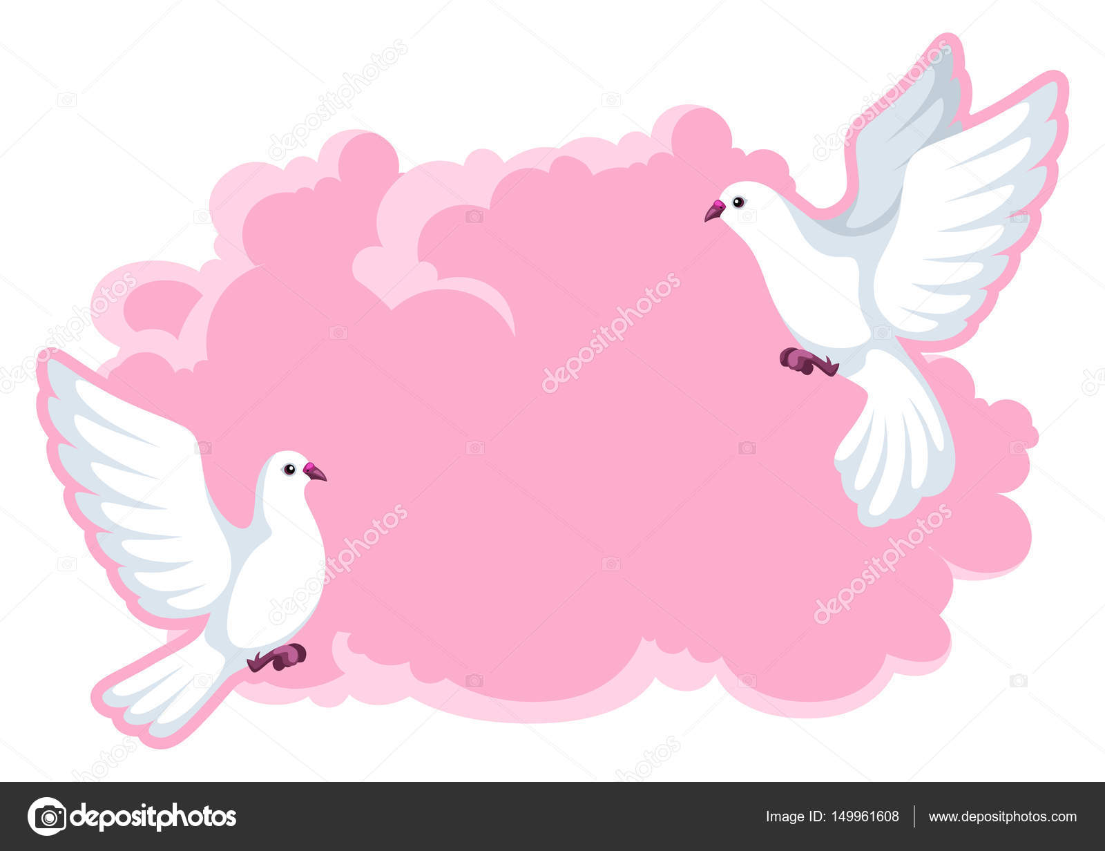 Background with white doves. Beautiful pigeons faith and love symbol ...