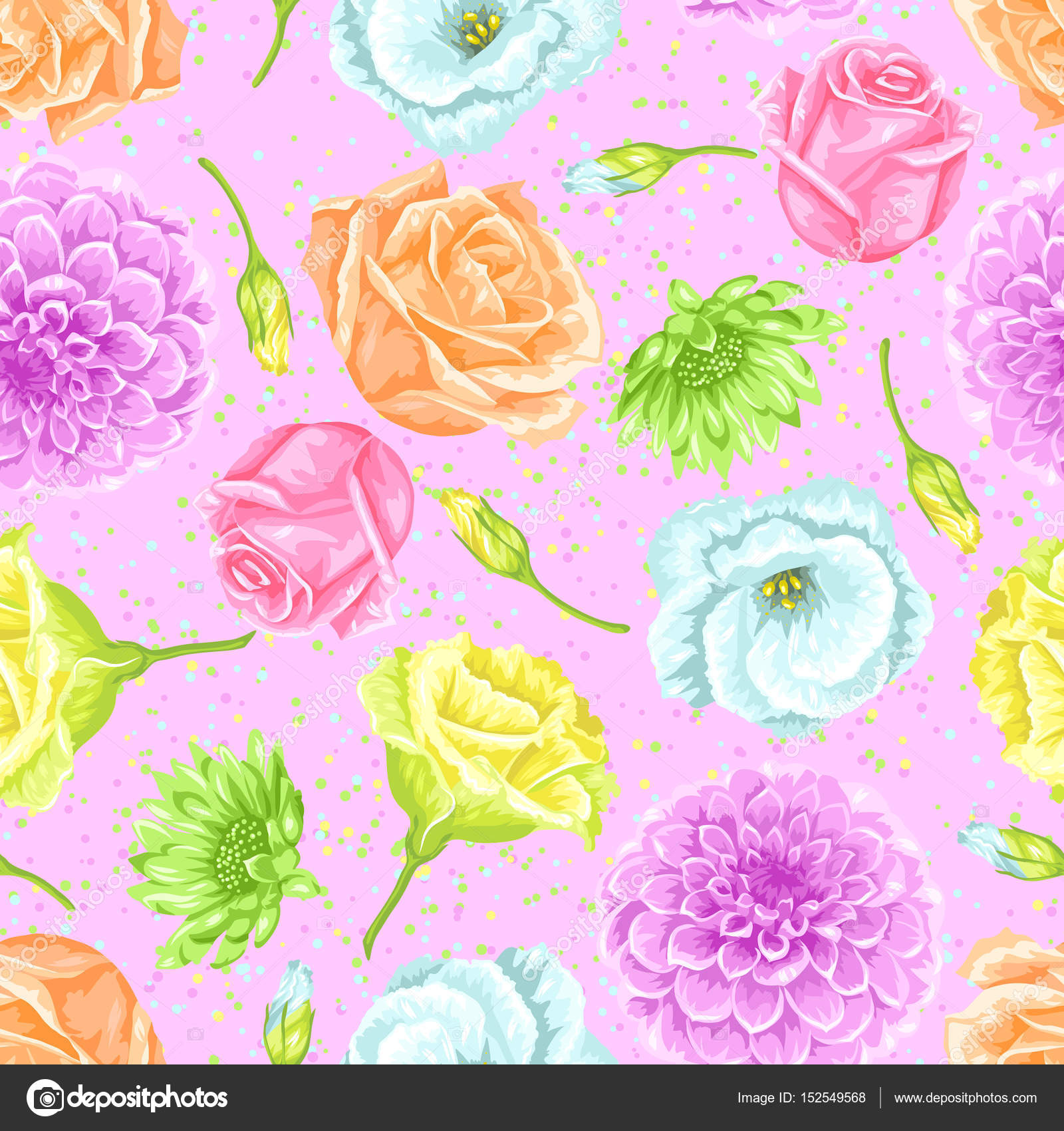 Seamless Pattern With Decorative Delicate Flowers Easy To Use For