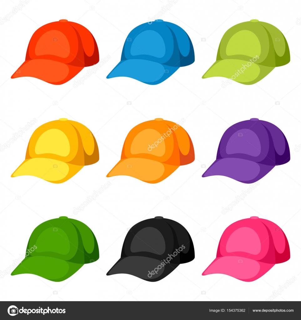 Plantillas de gorras de béisbol coloreado. Conjunto de ropa ...