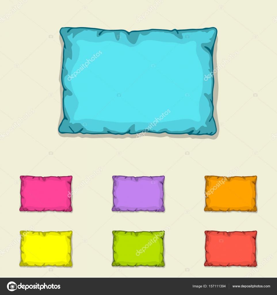 Plantillas de almohada de cama. Conjunto de almohadas multicoloras ...
