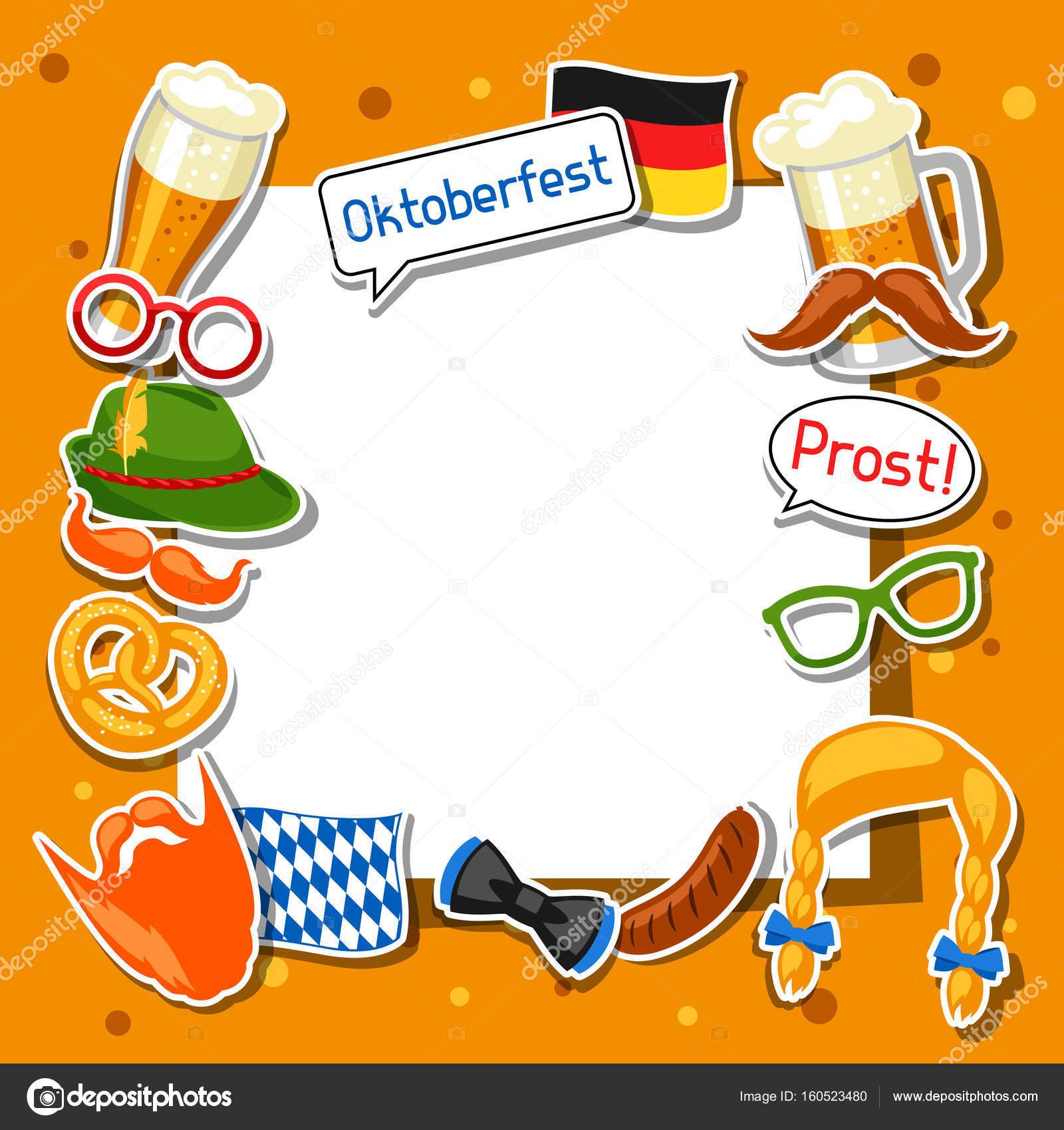 Marco de la Oktoberfest con pegatinas de cabina de la foto. Diseño ...