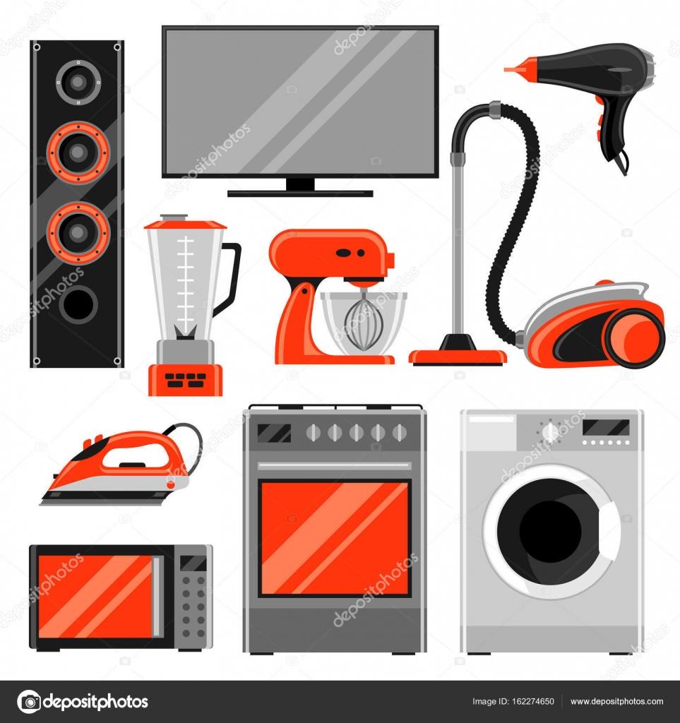 Conjunto de aparatos electrodom sticos art culos para el for Articulos para el hogar