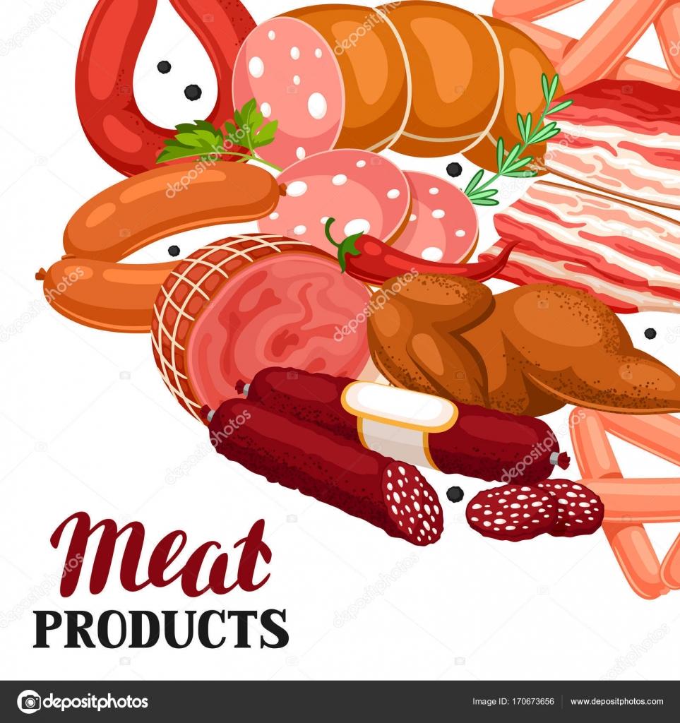 肉製品の背景ソーセージベーコンおよびハムのイラスト ストック