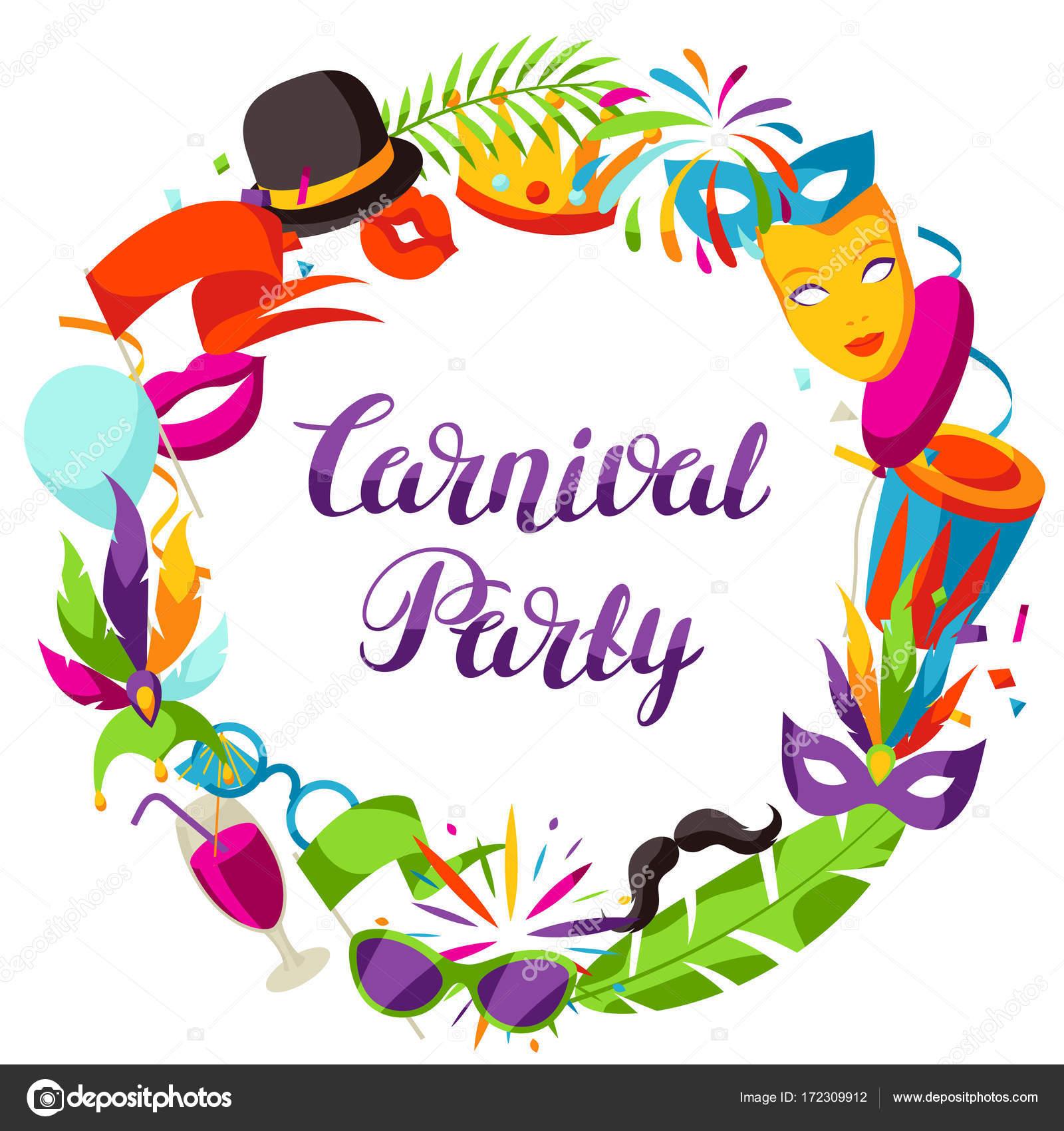 Karneval Party Rahmen mit Feier Symbole, Objekte und Dekor ...