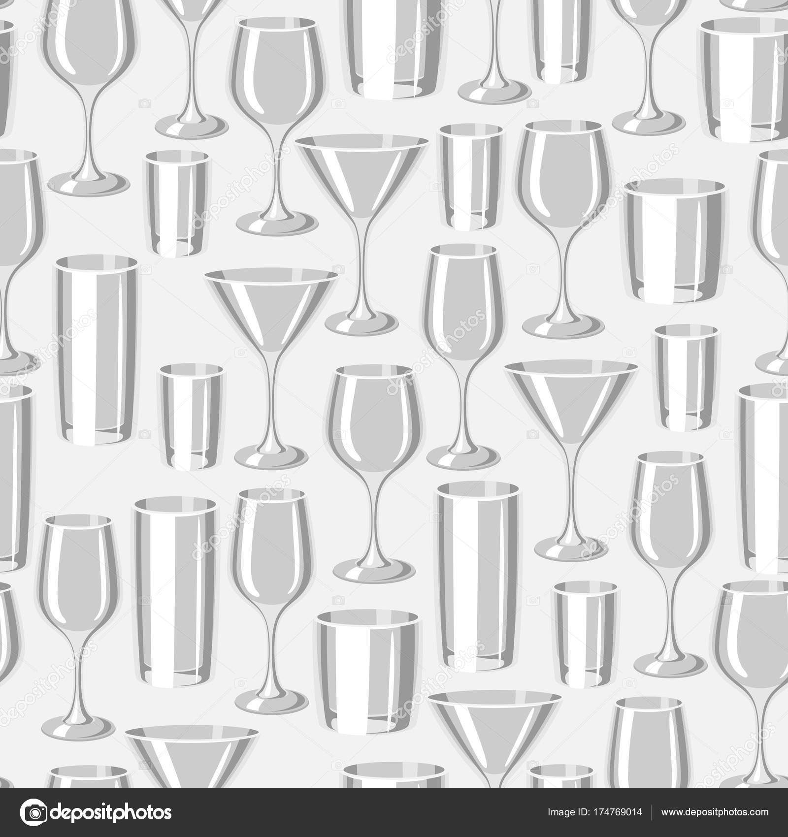 Types Of Bar Gles Seamless Pattern With Alcohol Glware