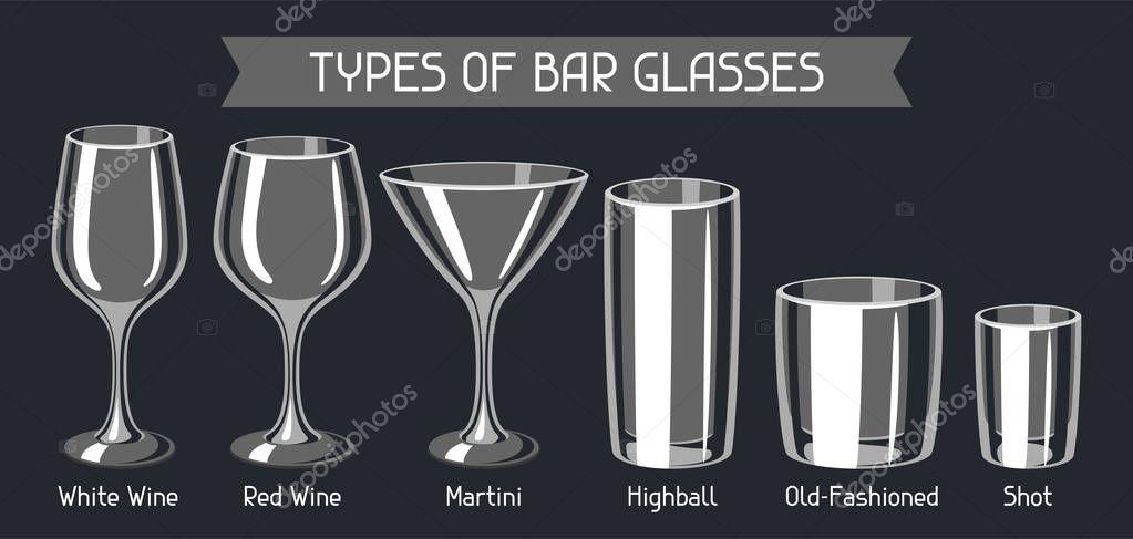 arten von bar gl ser satz von alkohol glaswaren stockvektor incomible 174768440. Black Bedroom Furniture Sets. Home Design Ideas
