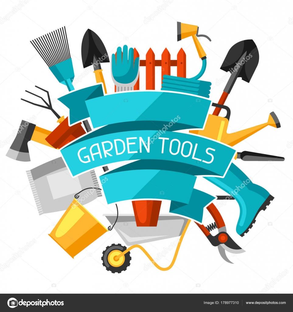 Konzept Hintergrund Mit Garten Tools Und Symbole Alles Fur Garten