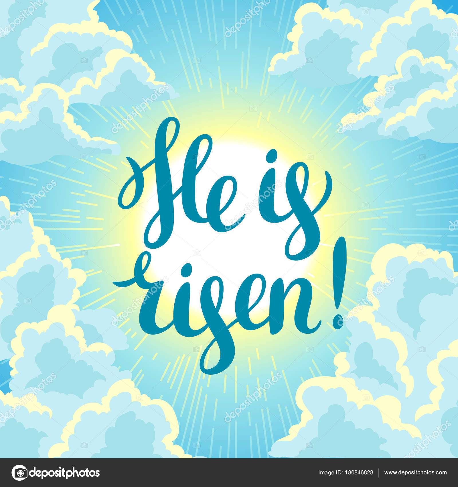He Is Risen Happy Easter Concept Illustration Or Greeting Card