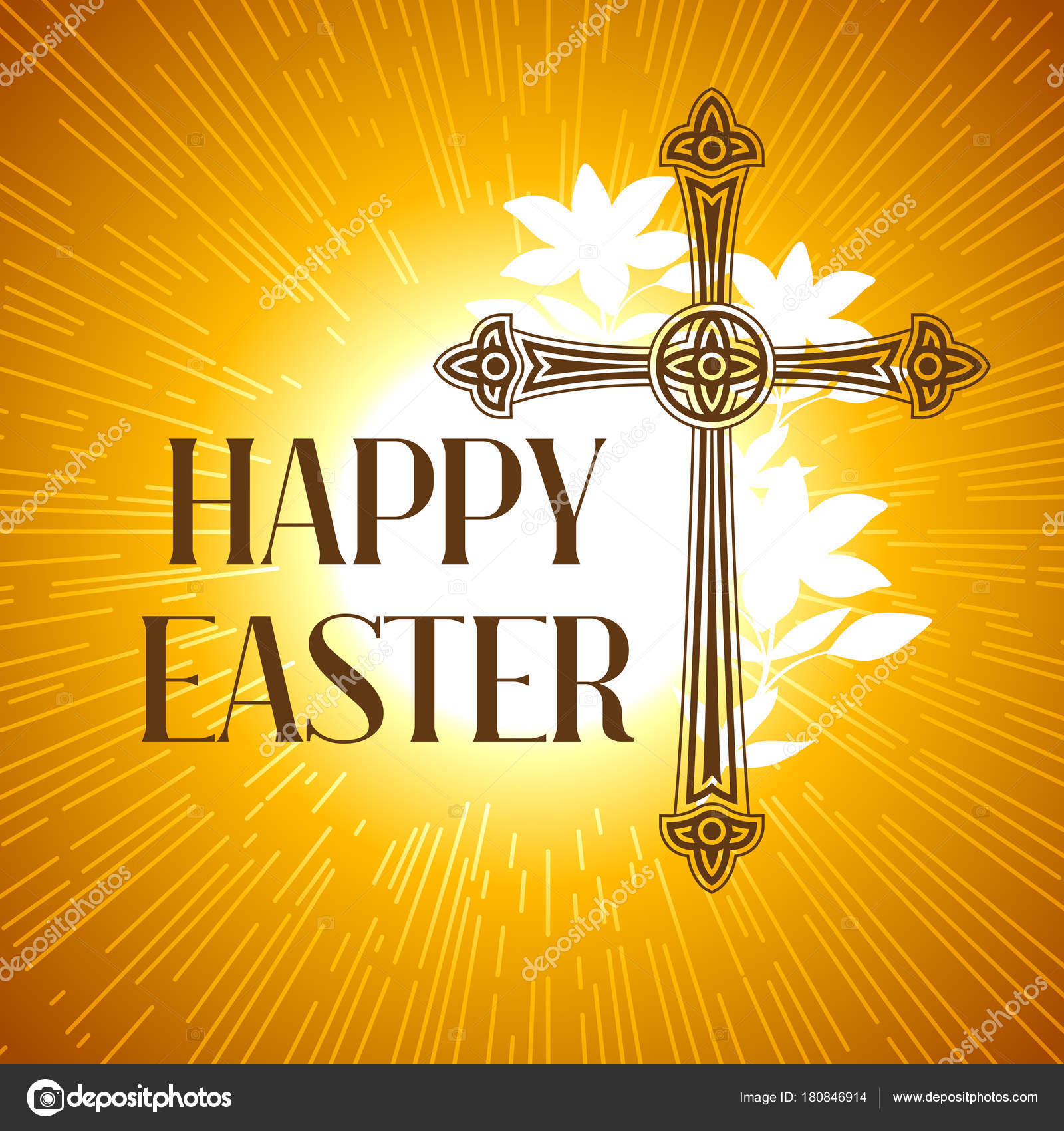Silhouette Of Ornate Cross Happy Easter Concept Illustration Or