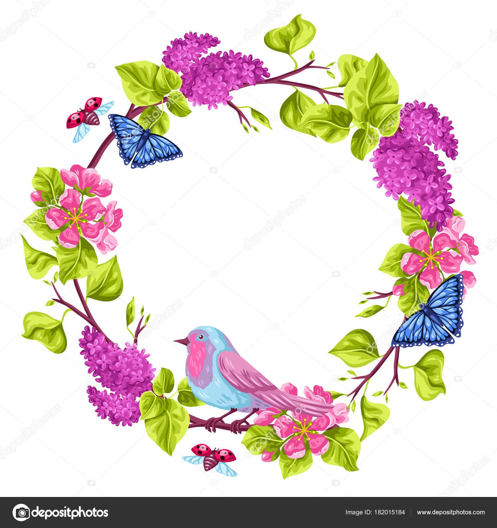 Marco jardín de primavera. Ilustración natural con flor de Azahar ...