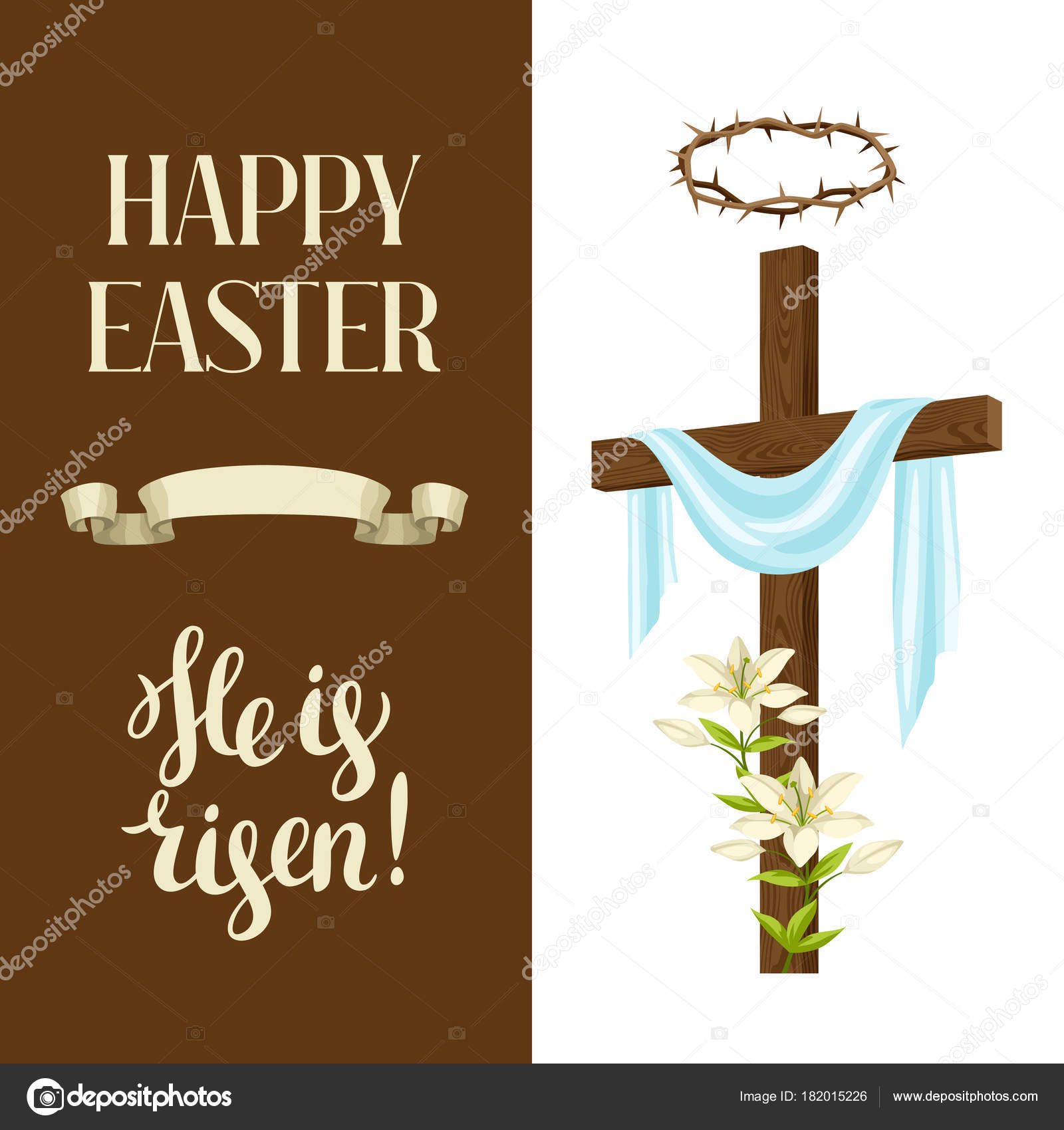 Wooden Cross With Shroud Lily Crown Of Thorns Happy Easter