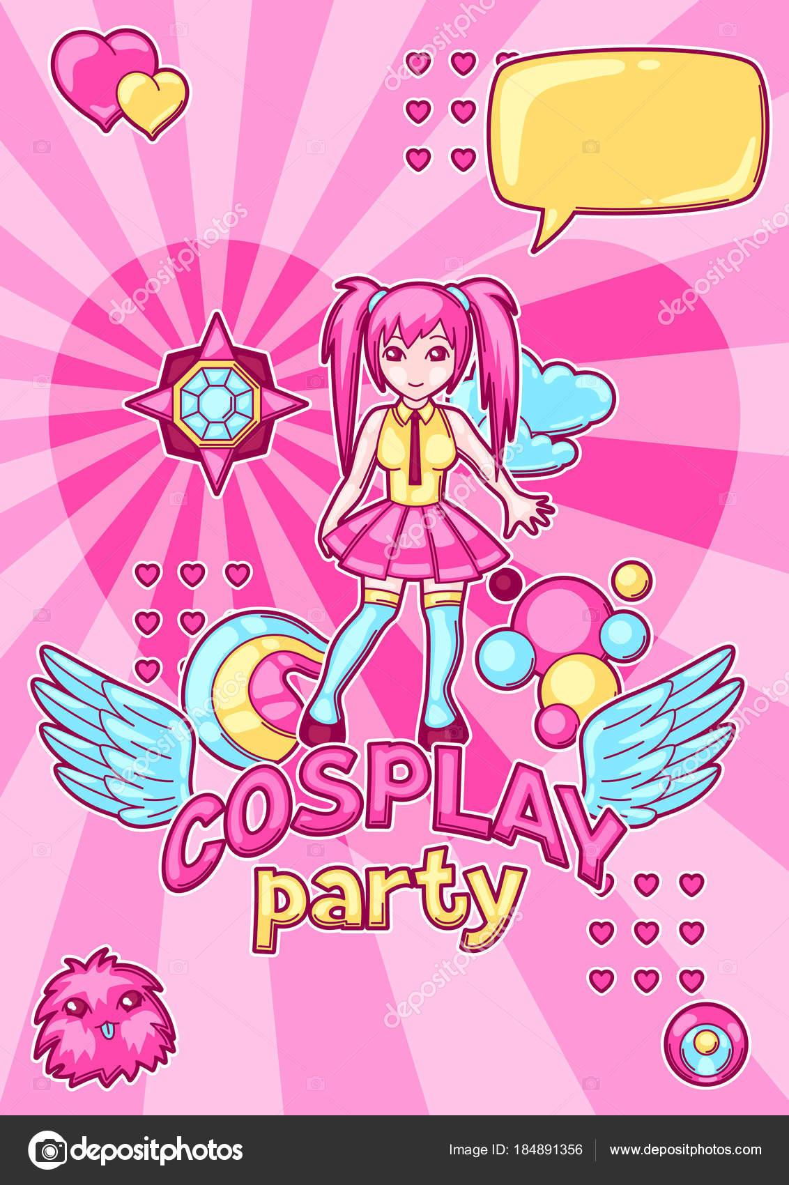 Invitación de fiesta de cosplay de anime japonés. Elementos y ...