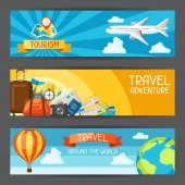 Travel banners. Traveling backgrounds with tourist items