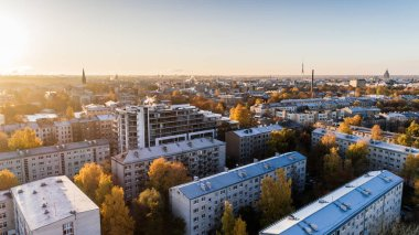 Riga city DSLR Drone Buildings photo from above
