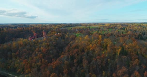 Turaides Castle Autumn Forest Sigulda city nature, Gauya river drone flight, bridge car drive from above