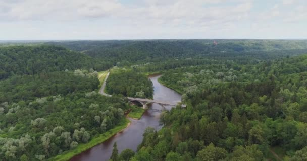 Bridge in Sigulda city Forest, nature, Gauja river drone flight, bridge car drive from above