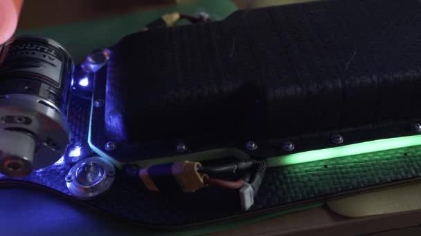 Villamos a longboard led világítás, szén-dioxid-rája, fedélzet, saját készítésű projekt összeállítása