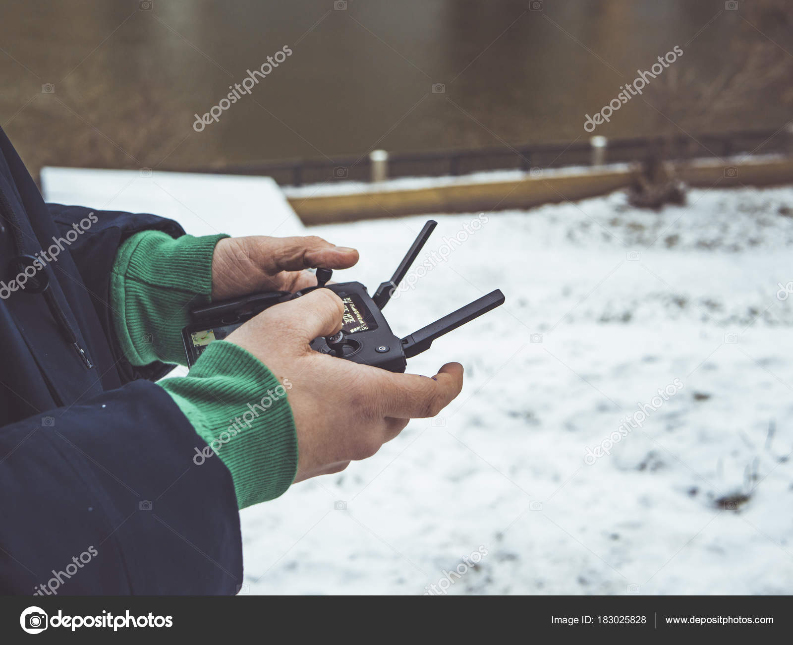 Close Shot Person Control Aerial Drone Joystick Stock Photo