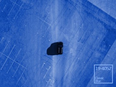 top above view black car running on blank empty asphalt abstract conept with copy space