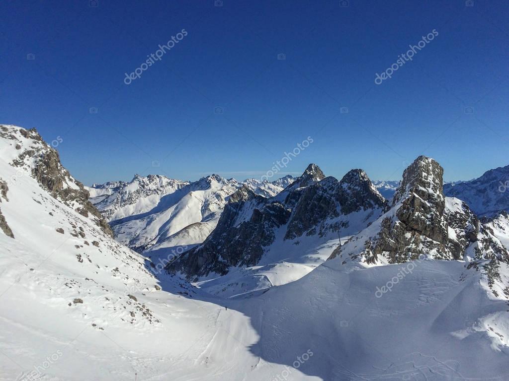 Panoramic view at a ski run at Austrian Ski Resort of St. Anton